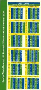 Bourke Waste 2020 Calendar